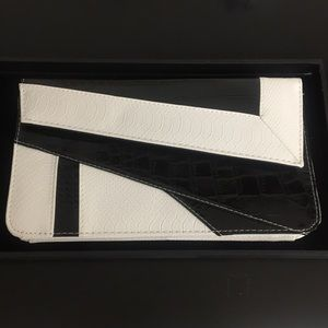 Black and white large clutch